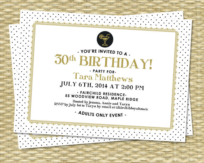 Birthday Invitation - Chic, Elegant White, Gold, Black, Tara Style - ANY COLORS - 21st, 30th, 40th, 50th, 60th, 70th, 80th - Any Event