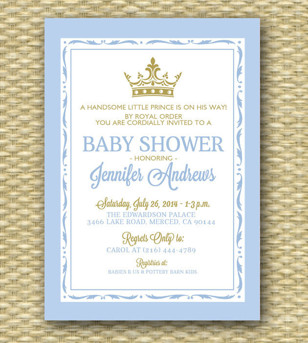Printable Royal Baby Shower Invitation, Royal Baby Boy Shower2, Little Prince Shower, Little Princess - ANY COLOR SCHEME - Any Event