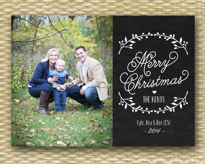 Rustic Christmas Photo Card - Chalkboard, Customized, DIY Printable, Holiday - Holly Folk Wreath Chalkboard - ANY WORDING