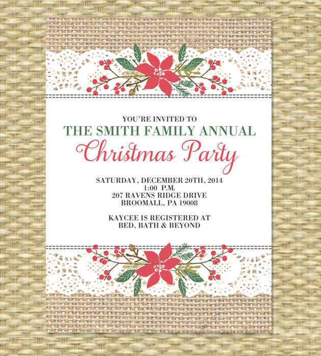 Christmas Party Invitation, Holiday Party, Printable Rustic Country, Birthday Invitation - Burlap Thick Ribbon Lace Stitch - ANY EVENT