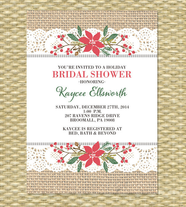 Christmas Bridal Shower Invitation, ANY EVENT - Wedding, Birthday Invitation, Baby Shower - Rustic Burlap Thick Ribbon Lace Stitch