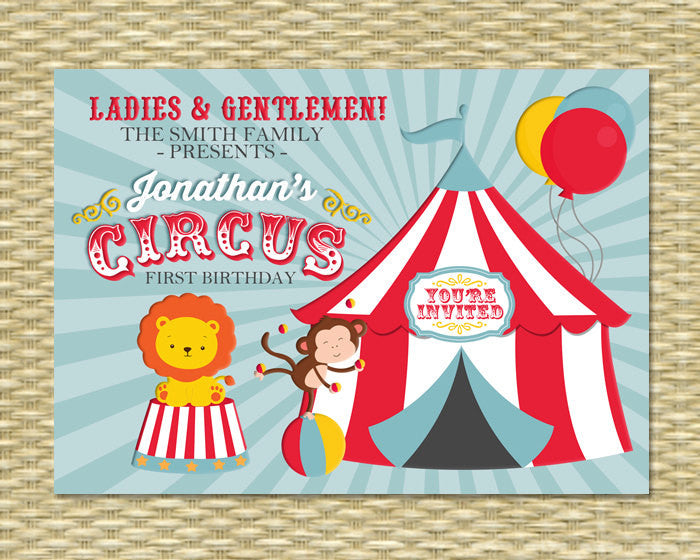 Circus First Birthday Invitation, Circus Birthday Invite, Carnival Birthday, Any Age, Single or Double Sided, ANY EVENT, Any Color Scheme