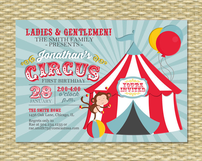 Circus First Birthday Invitation 1st Party Vintage