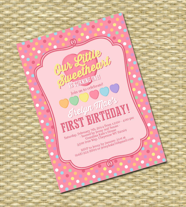 Valentine 1st Birthday InvitationFirst Birthday Little Sweetheart Retro Candy Hearts Little Valentine Birthday 2nd 3rd 4th ANY EVENT
