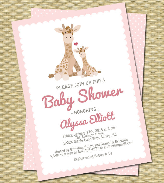 Gender Neutral Baby Shower Invitation Baby Giraffe and Mom Any Event Any Color Scheme Baby Boy Baby Girl Pink Blue Taupe