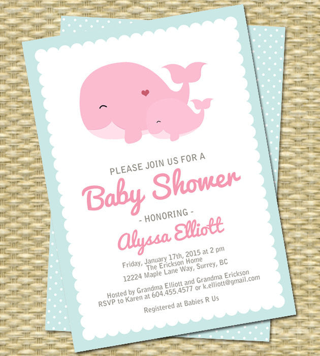 Whale Baby Shower Invitation Baby Girl Baby Boy Gender Neutral Sip And See  Baby Sprinkle, ANY EVENT, Any Color