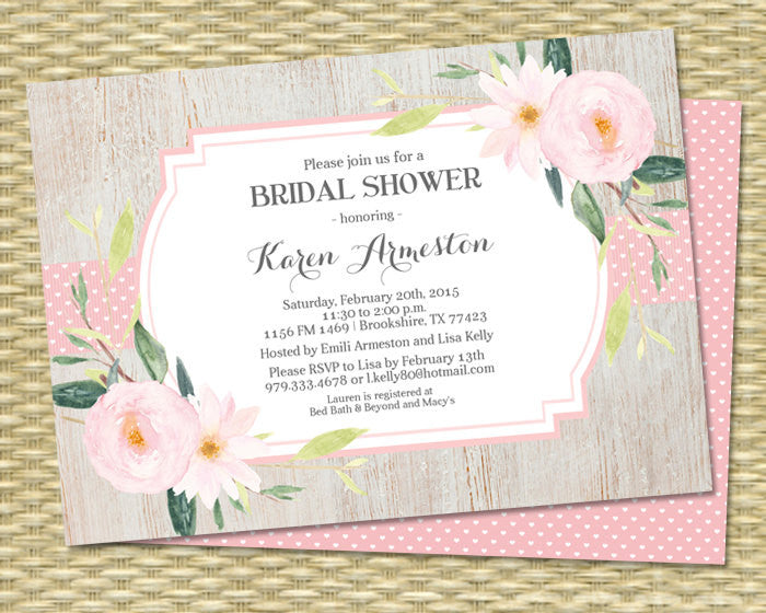 Rustic Bridal Shower Invitation, Rustic Wood Symphonia Floral Hearts Ribbon, Baby Shower, Birthday Invitation - ANY EVENT, Any Color Scheme