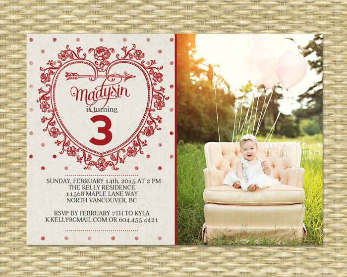 Valentine Birthday Invitation Valentine's Day Party Invitation Retro Sweetheart Birthday First Birthday Photo Invitation ANY EVENT Any Color
