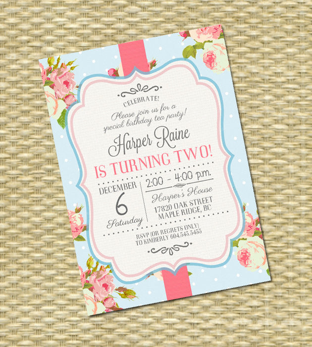 First Birthday Invitation Shabby Chic 1st Birthday Tea Party Invite Pink Roses Vintage Floral Birthday Tea, ANY EVENT, Any Colors