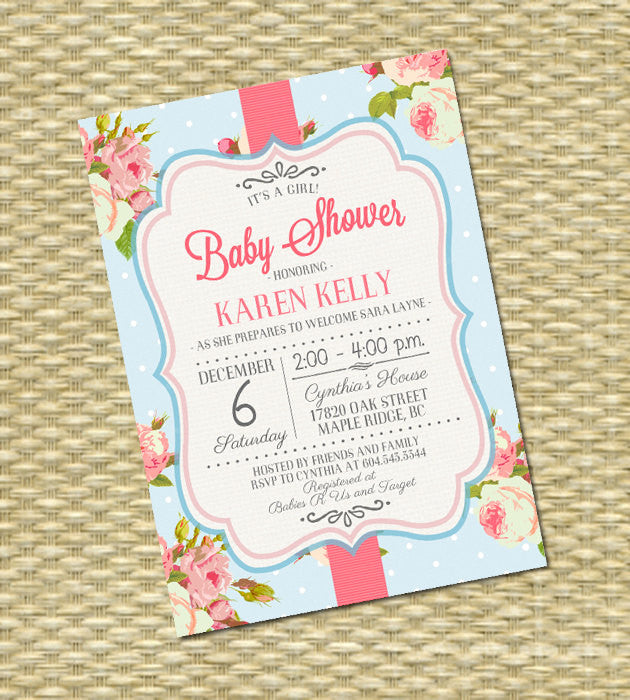 Shabby Chic Baby Shower Invitation Baby Girl Shower Pink Roses Floral Baby Shower Tea Party Sip and See Baby Sprinkle, ANY EVENT