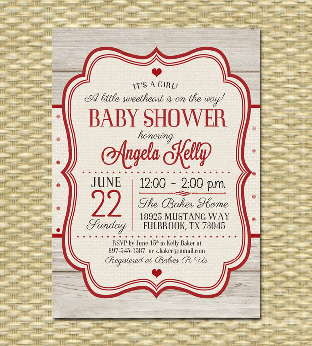 Valentine Baby Shower Invitation Vintage Valentine Little Sweetheart Baby Shower Rustic Shower Red Cream Valentine's Day Party , ANY EVENT