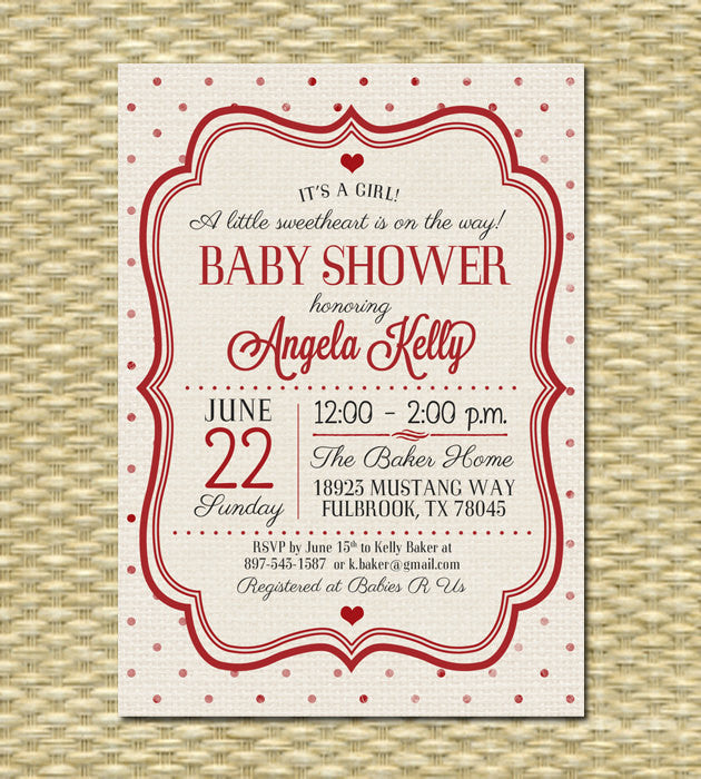 Valentine's Day Baby Shower Invitation Valentine's Day Party Invitation Valentine Bridal Shower Baby Shower Red Hearts Cream ANY COLORS