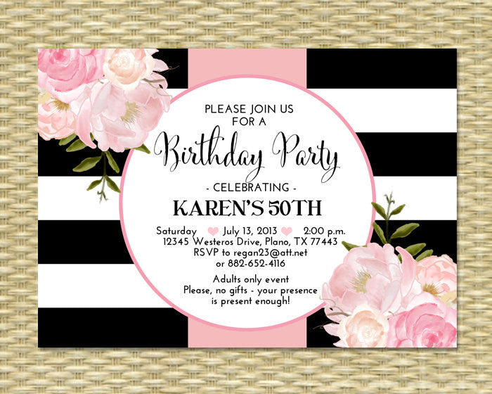 30th Birthday Invitation Black White Stripes Pink Peonies Floral 21st 40th 50th 60th 70th 80th Any Age Or Event