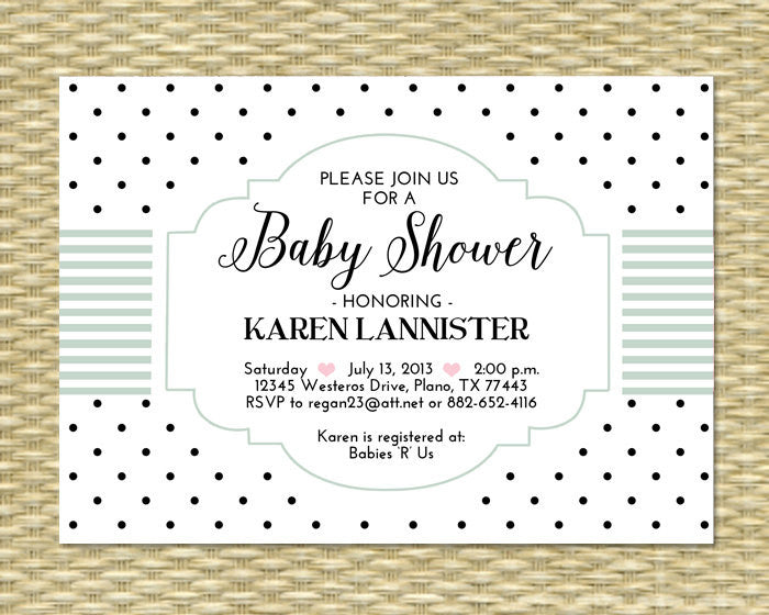 Printable Baby Shower Invitation, Polka Dot, White, Pink, Black - Printable, Baby Girl, Birthday - Mint, Blue, Aqua, ANY COLOR SCHEME