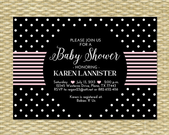 Baby Girl Shower Invitation Black and White Black Pink and White Sip and See Baby Sprinkle Diapers and Wipes, Any Event, ANY COLORS