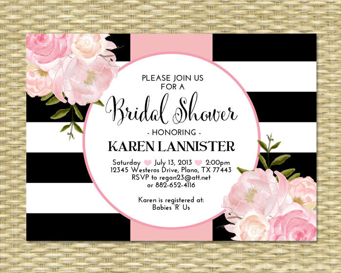 30th Birthday Invitation Black White Stripes Pink Peonies Floral Birthday Invitation 21st 30th 40th 50th 60th 70th 80th, Any Age or Event