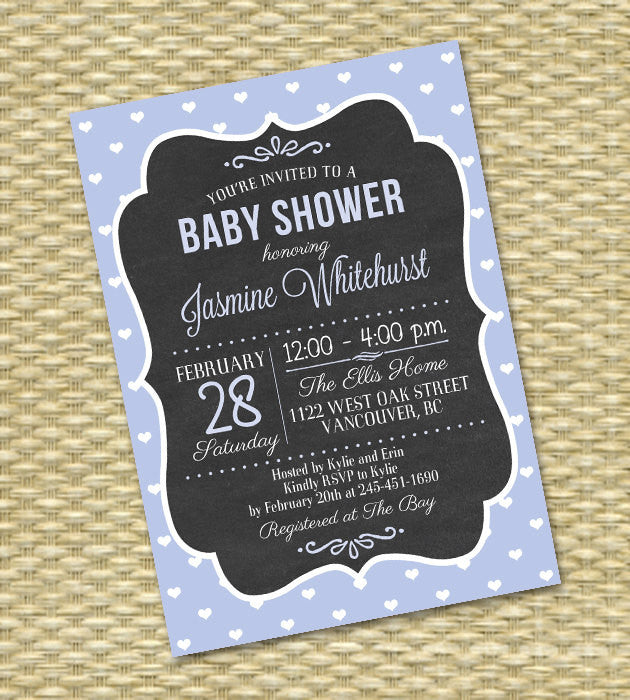 Baby Shower Invitation Chalkboard Typography Aqua Teal Turquoise Blue Hearts Baby Boy Gender Neutral Baby Girl, Any Event, Any Color Scheme