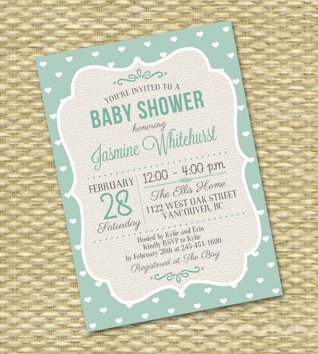 Gender Neutral Baby Shower Invitation Sip and See Diaper and Wipe Baby Sprinkle Aqua Mint Baby Boy Baby Girl Shower