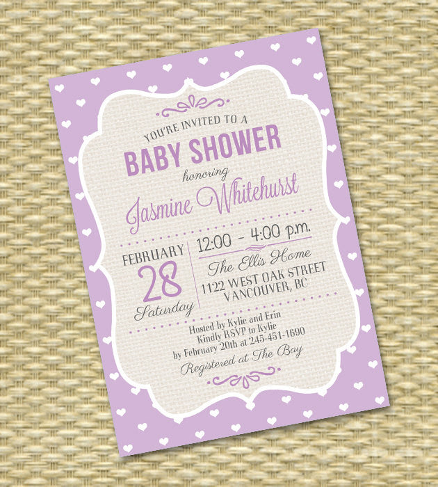 Mint Gender Neutral Baby Shower Invitation ANY COLOR Rustic Burlap Typography Diaper and Wipe Baby Sprinkle, Any Event