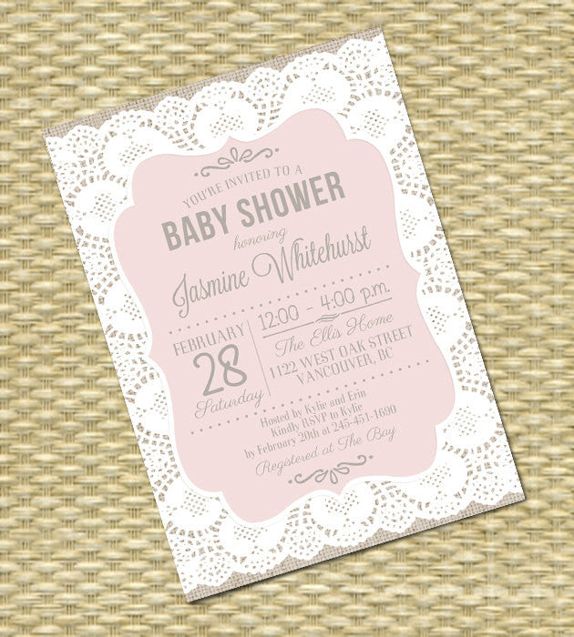 Rustic Lace Baby Girl Shower Invitation Rustic Burlap Lace Shabby Chic Lace Invitation Rustic Baby Shower Baby Sprinkle, ANY EVENT