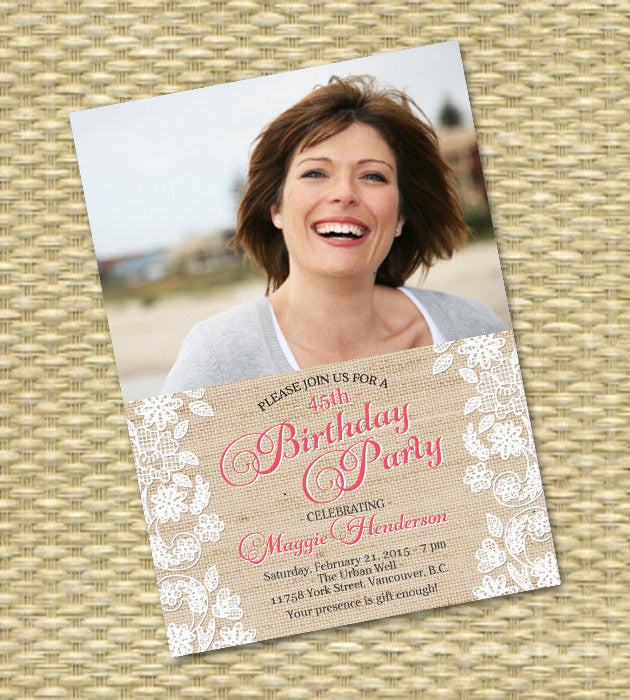 Birthday Invitation, 30th, 40th, 50th, 60th, 70th, 75th, Anniversary - Burlap Lace Applique Gio with Photo - ANY EVENT - Any Colors