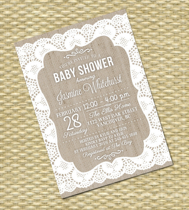 Lace Burlap Bridal Shower Invitation Rustic Bridal Shower Burlap Lace Invitation Rustic Country Shabby Chic Bridal Brunch, ANY EVENT
