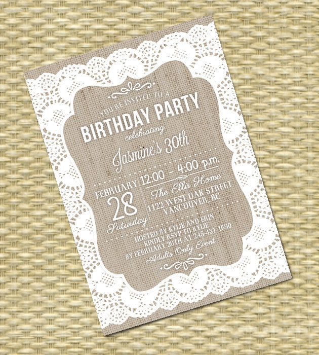 Burlap Lace 30th Birthday Invitation Rustic Lace Burlap Invitation Shabby Chic Birthday Tea Party Lace Invites, ANY EVENT