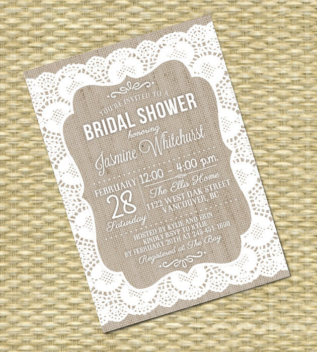 Lace Burlap Rustic Baby Shower Invitation Gender Neutral Baby Shower Baby Sprinkle Burlap Lace Invitation, ANY EVENT