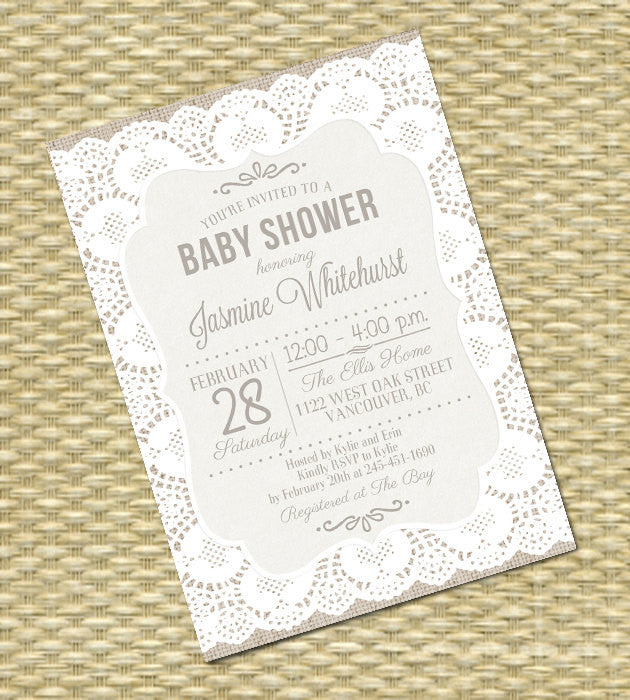 Gender Neutral Baby Shower Invitation Burlap Lace Rustic Shabby Chic Baby Shower Sip and See Diapers and Wipes, ANY EVENT, Any Colors