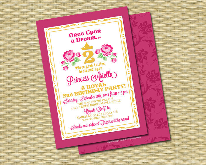 Sleeping Beauty Princess Birthday Invitation First Second Party ANY COLOR SCHEME Any Event