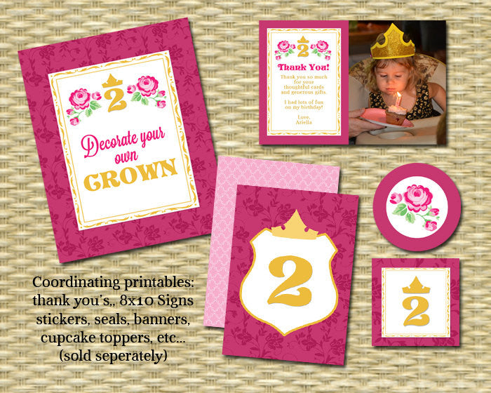 Sleeping Beauty Princess Birthday Invitation First Birthday Second