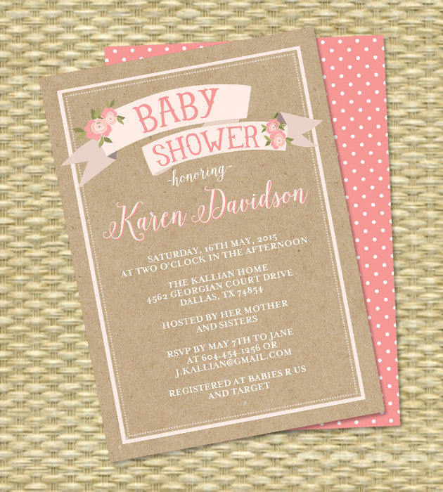 Kraft Bridal Shower Invitation Rustic Bridal Brunch Wedding Shower Pink Floral Ribbon Banner ANY EVENT