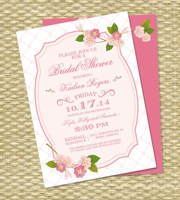 Spring Bridal Shower Invitation Cherry Blossoms Wedding Shower Spring Floral Bridal Brunch Bridal Tea, ANY EVENT