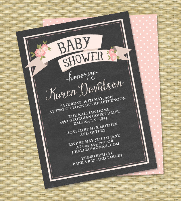 Chalkboard Baby Shower Invitation, Baby Girl Shower Invitation, Gender Neutral, Pink, Floral, Ribbon, Banner - Any Colors - ANY EVENT