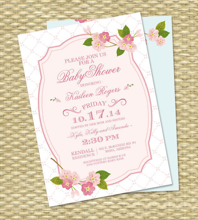 60th Birthday Invitation Adult Milestone Spring Cherry Blossoms Pink Sakura 50th ANY EVENT
