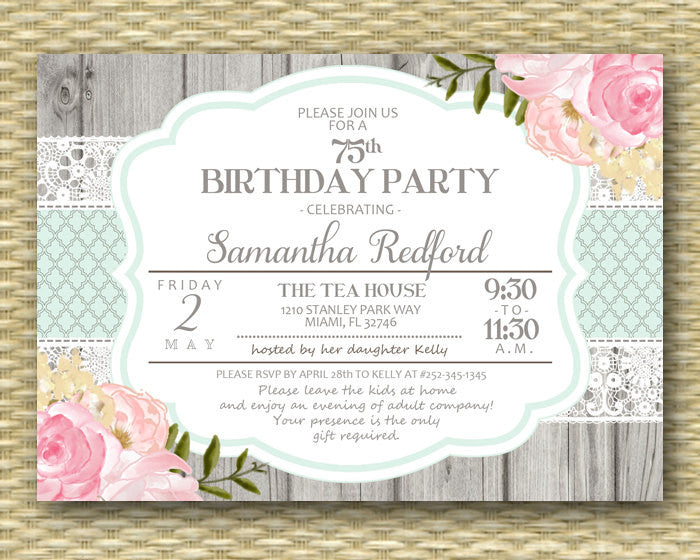75th Birthday Invitation Pink Floral Roses Peonies Rustic Lace Shabby Chic Adult Milestone Birthday Invitation Birthday Brunch, ANY EVENT