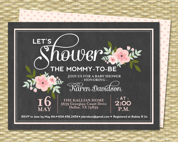 Chalkboard Baby Shower Invitation Sip and See Invite Baby Girl Shower Invitation Gender Neutral Pink Floral Any Colors ANY EVENT