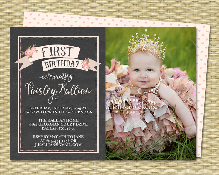 Chalkboard First Birthday Invitation, Shabby Chic, Chalkboard Floral Pink - Photo Card - ANY EVENT