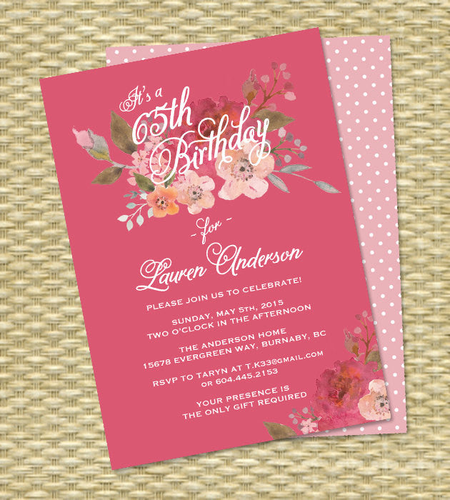 Birthday Invitation, Milestone Birthday, Watercolor Pink Floral - Any Colors - ANY EVENT - 30th, 40th, 50th, 60th, 65th