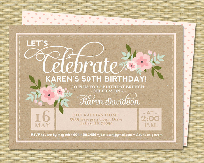 50th Birthday Invitation Adult Milestone Birthday Rustic Kraft Invitation Pink Floral Invite Typography Style, Any Colors, ANY EVENT