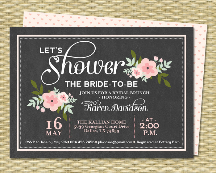 Bridal Brunch Invitations Chalkboard Floral Bridal Shower Invitation Bridal Tea Chalkboard Mint Pink, ANY EVENT