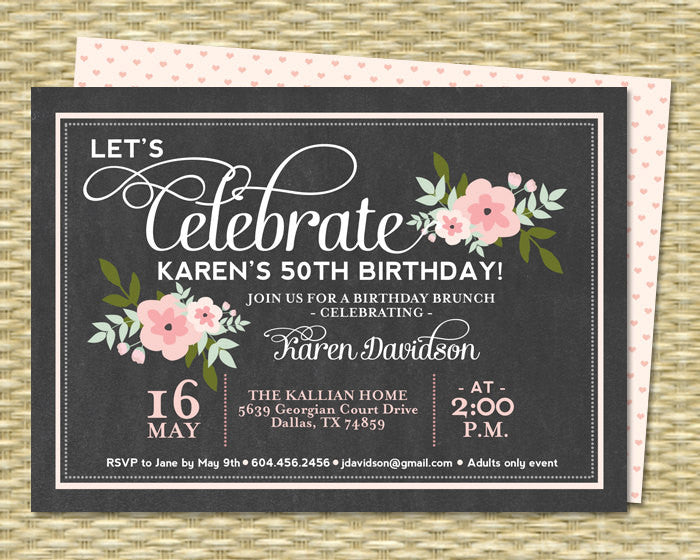 Chalkboard Birthday Invitation Printable Birthday Invitation Adult Birthday Milestone Birthday Pink Floral Chalkboard Any Age Any Event