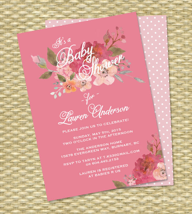 Baby Shower Invitation Watercolor Floral Sip and See Baby Sprinkle Baby Tea Raspberry Pink Watercolor Flowers