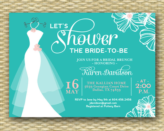Wedding Dress Bridal Shower Invitation Dress on Hanger ANY COLORS Printable or Printed