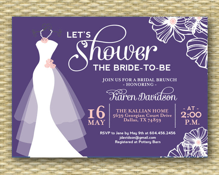 Bridal Shower Invitation Wedding Dress Shower Invite Dress on Hanger Flowers Typography, ANY COLORS, Printable or Printed