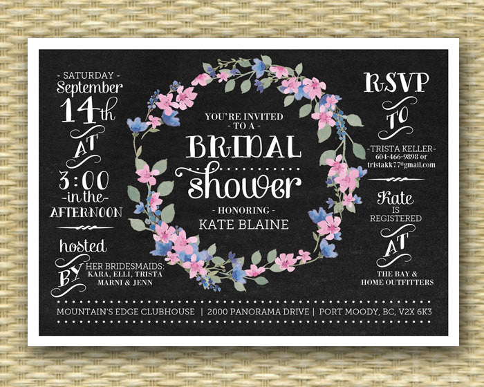 Chalkboard Bridal Shower Invitation, Floral Wreath, Rustic Bridal Shower, Floral Bridal Shower, Chalkboard Floral, ANY EVENT, Any Colors