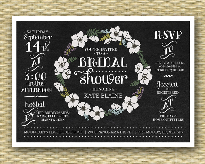 Chalkboard Bridal Shower Invitation Chalkboard Floral Wreath Black White Flowers Typography Bridal Brunch Bridal Tea, ANY EVENT