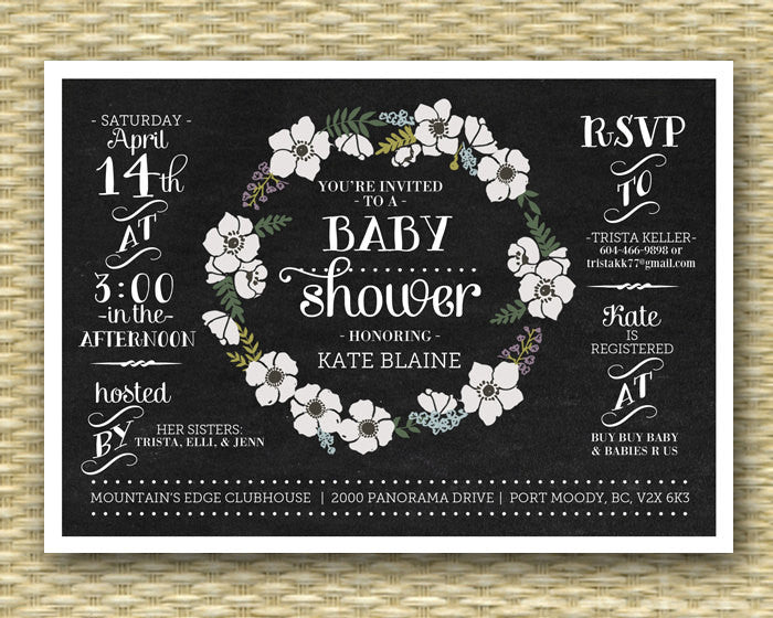 Chalkboard Baby Shower Invitation Gender Neutral Baby Shower Chalkboard Floral Wreath Black White, Typography - ANY EVENT, Any Color Scheme