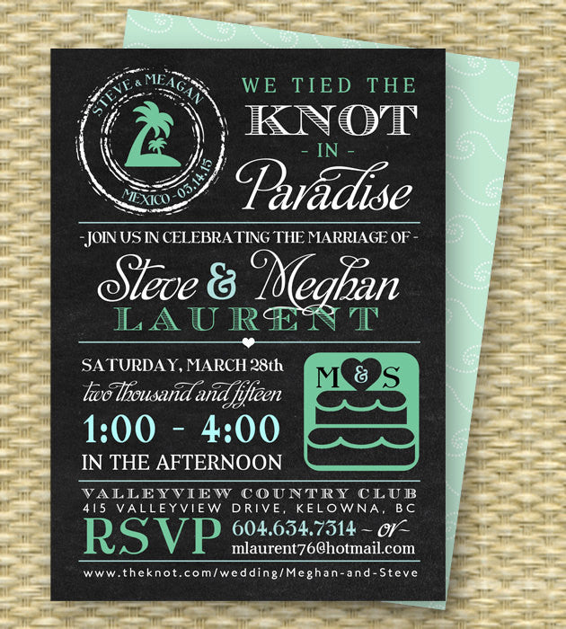 Chalkboard Destination Wedding Invitation Post-Destination Wedding Reception Invitation Tied the Knot in Paradise Beach ANY COLORS