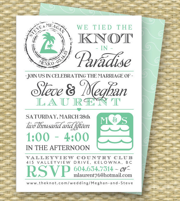 Destination Wedding Invitation Post-Destination Wedding Reception Invitation Tied the Knot in Paradise Beach Wedding Invite, ANY COLORS